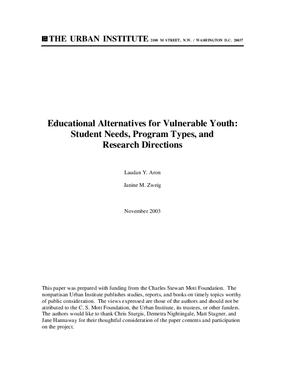 Educational Alternatives for Vulnerable Youth: Student Needs, Program Types, and Research Directions