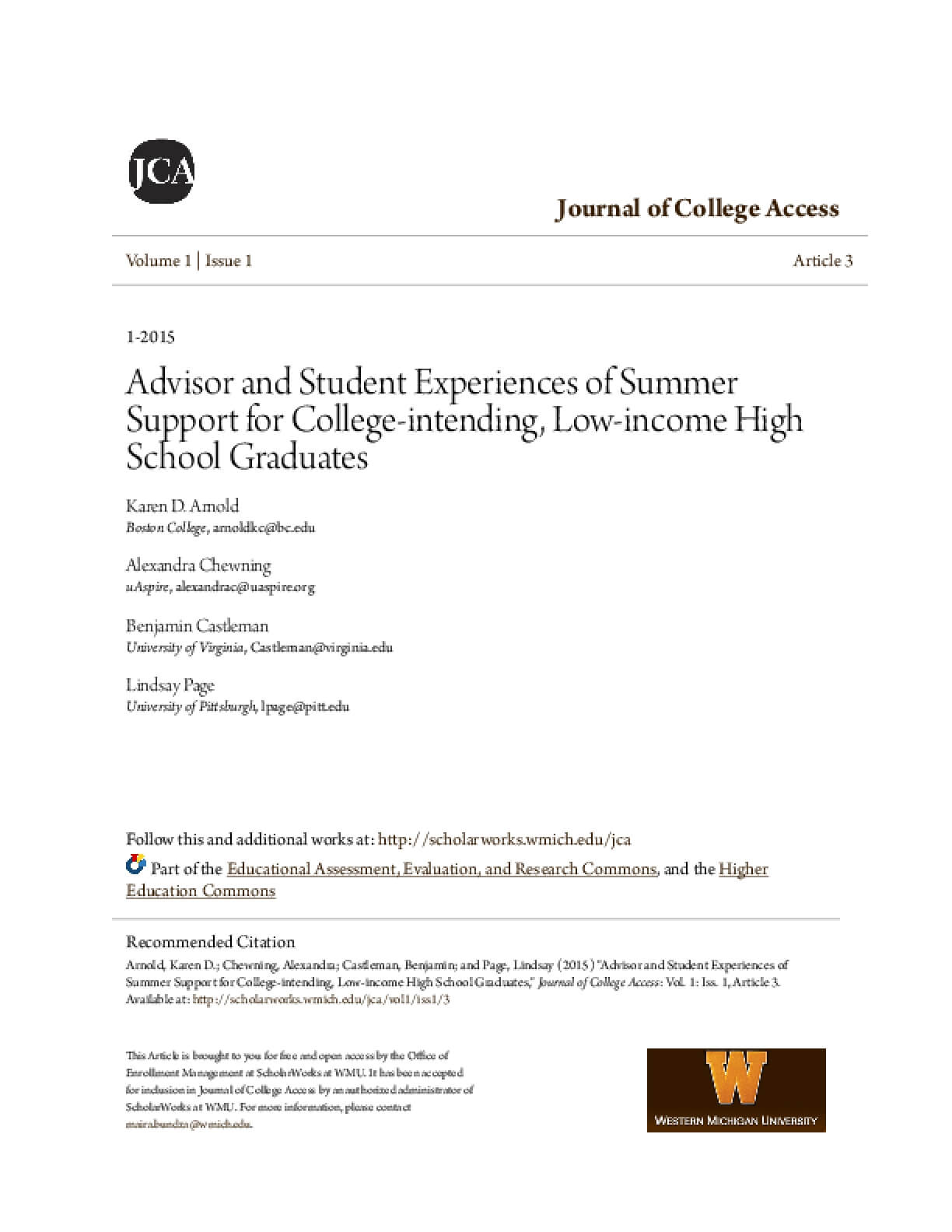 Advisor and Student Experiences of Summer Support for College-intending, Low-income high school graduates