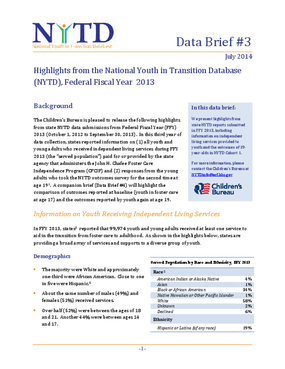 Highlights from the National Youth in Transition Database, Federal Fiscal Year 2013