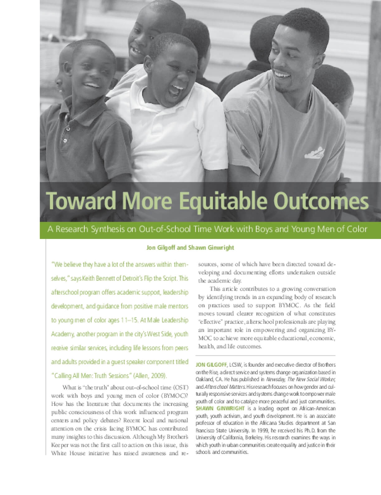 Toward More Equitable Outcomes: A Research Synthesis on Out-of-School Time Work with Boys and Young Men of Color