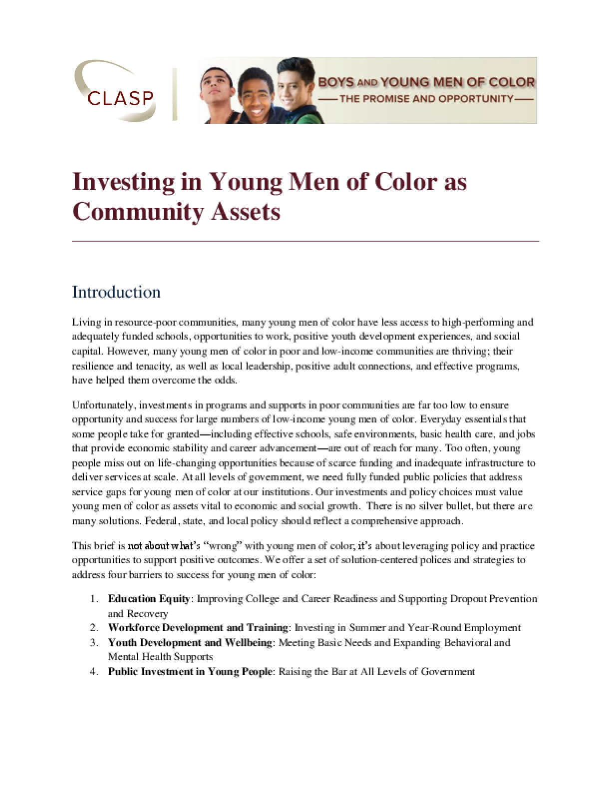 Investing in Young Men of Color as Community Assets