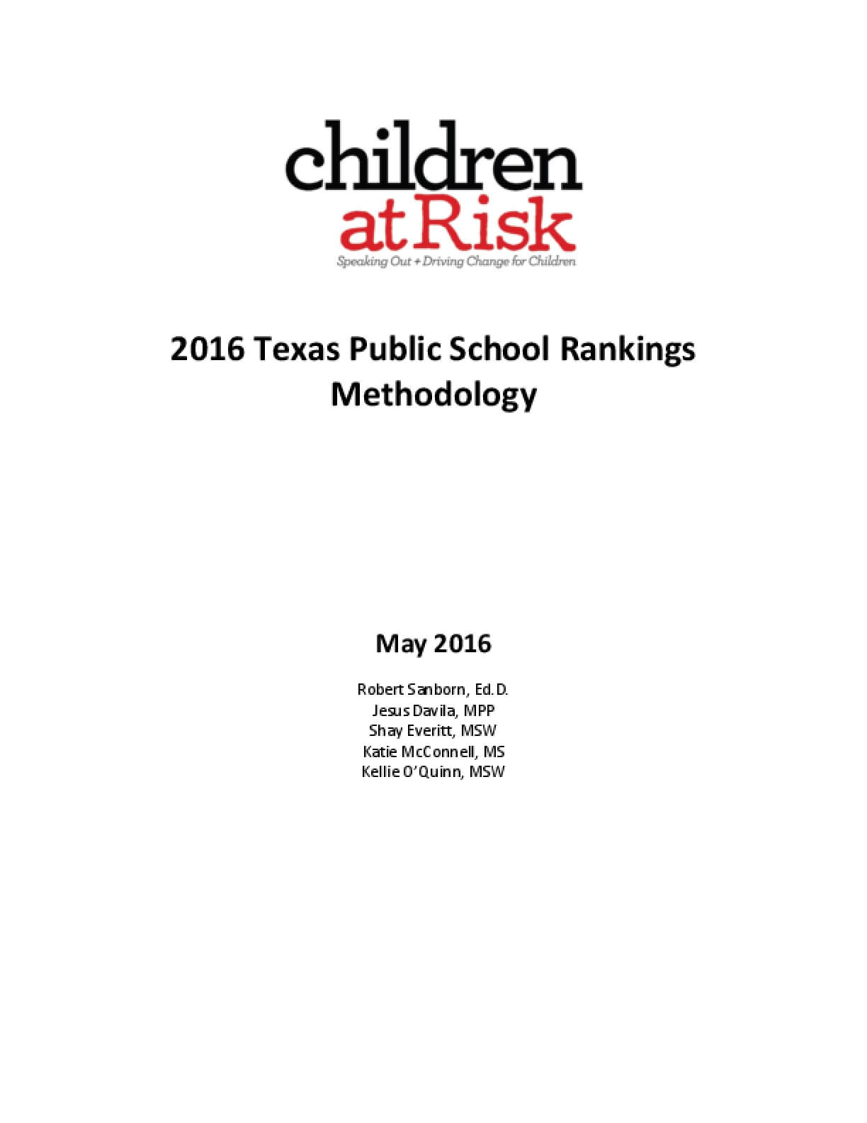 2016 Texas Public School Rankings Methodology