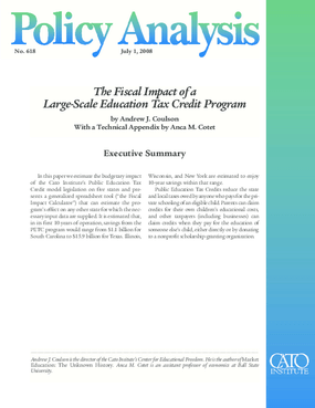 The Fiscal Impact of a Large-Scale Education Tax Credit Program