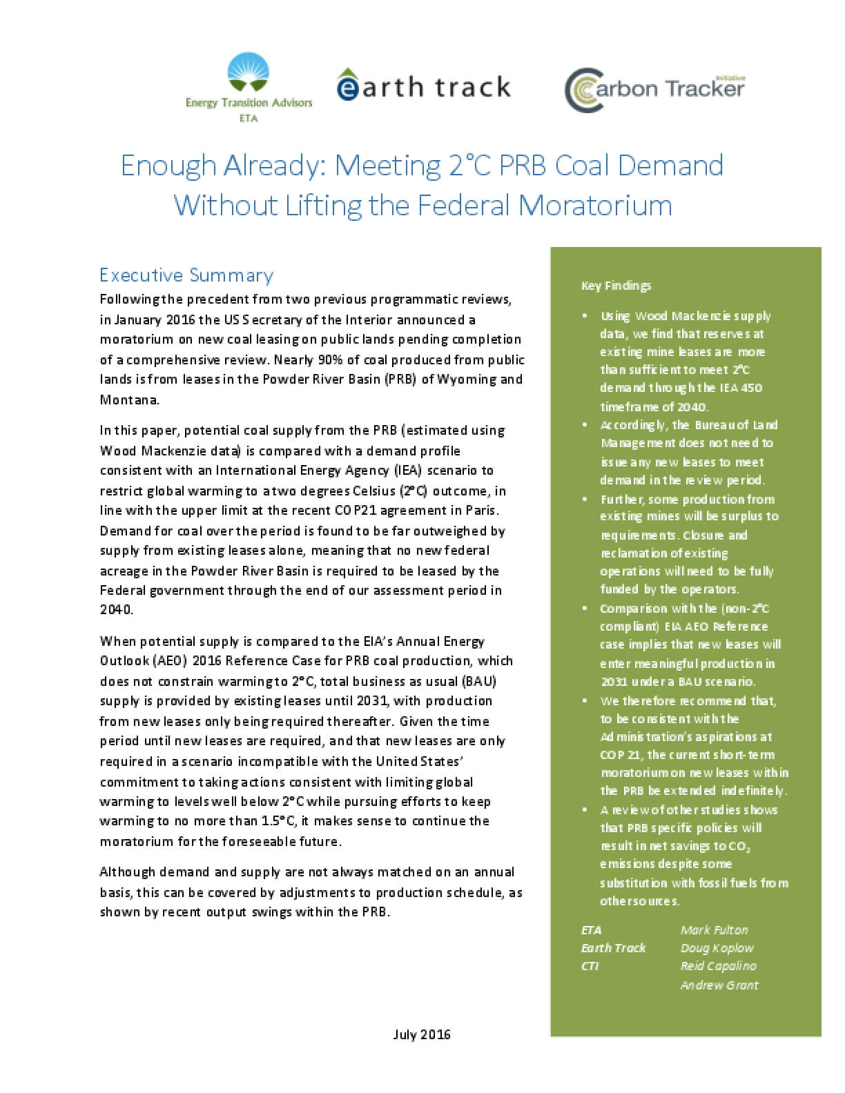 Enough Already: Meeting 2°C Powder River Basin Coal Demand Without Lifting the Federal Moratorium