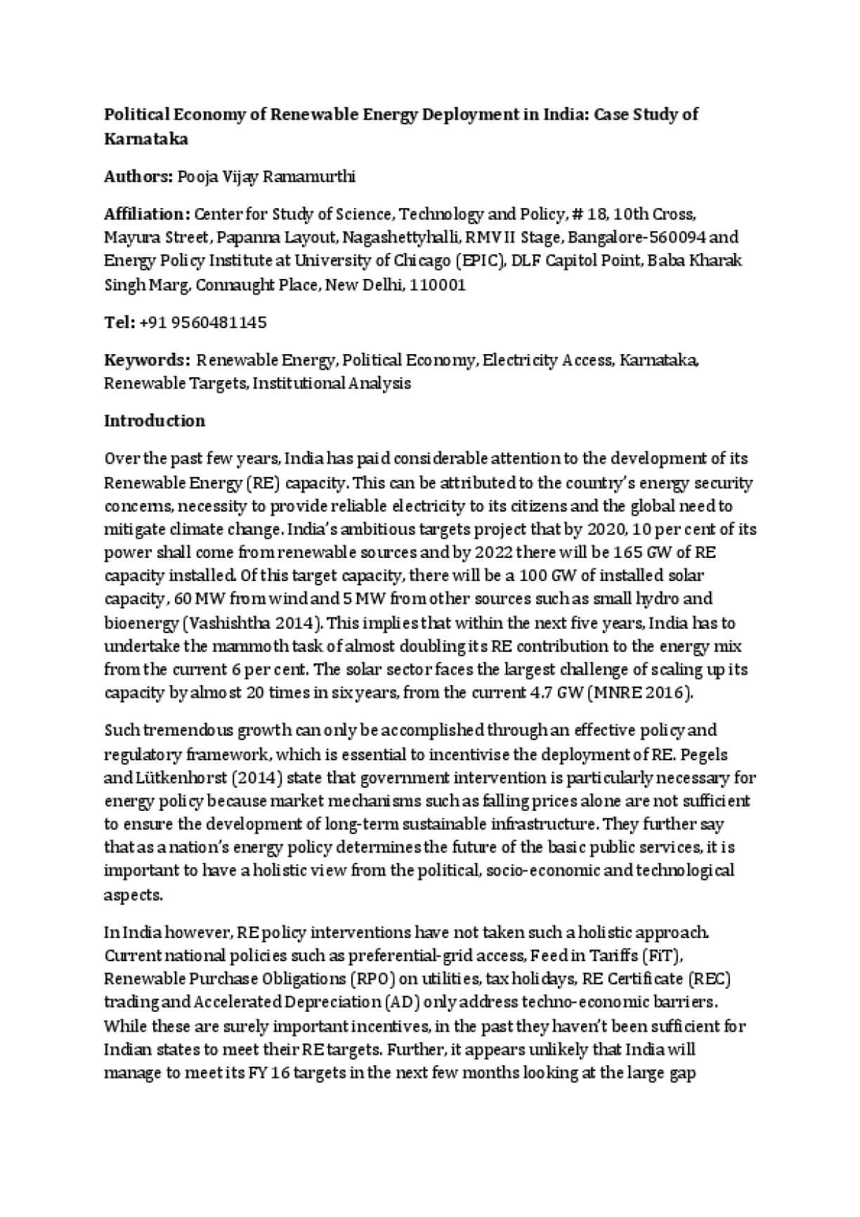 Political Economy of Renewable Energy Deployment in India