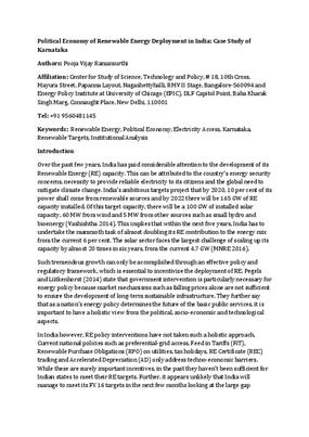 Political Economy of Renewable Energy Deployment in India: Case Study of Karnataka