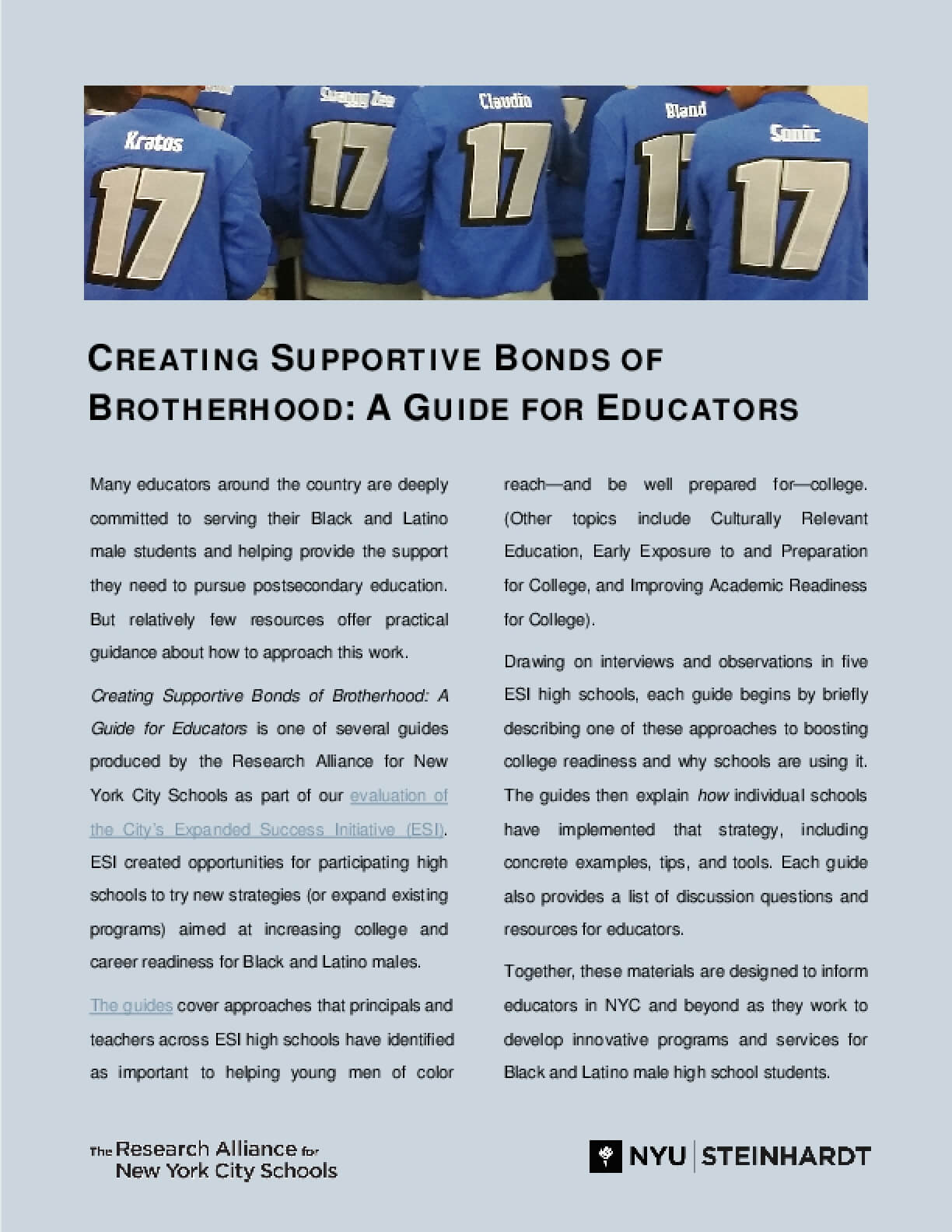 Creating Supportive Bonds of Brotherhood: A Guide for Educators