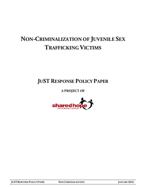 Non-Criminalization of Juvenile Sex Trafficking Victims