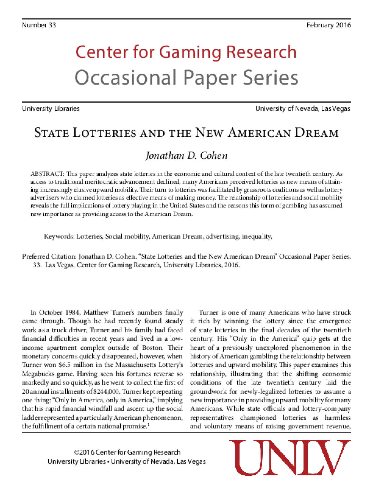 State Lotteries and the New American Dream