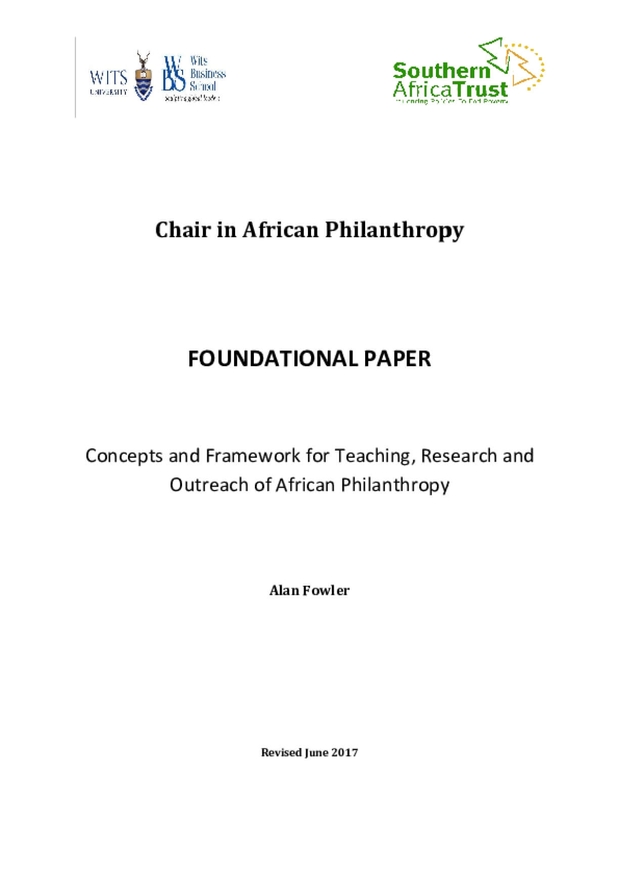 Concepts and Framework for Teaching, Research and Outreach of African Philanthropy