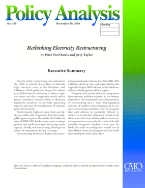 Rethinking Electricity Restructuring