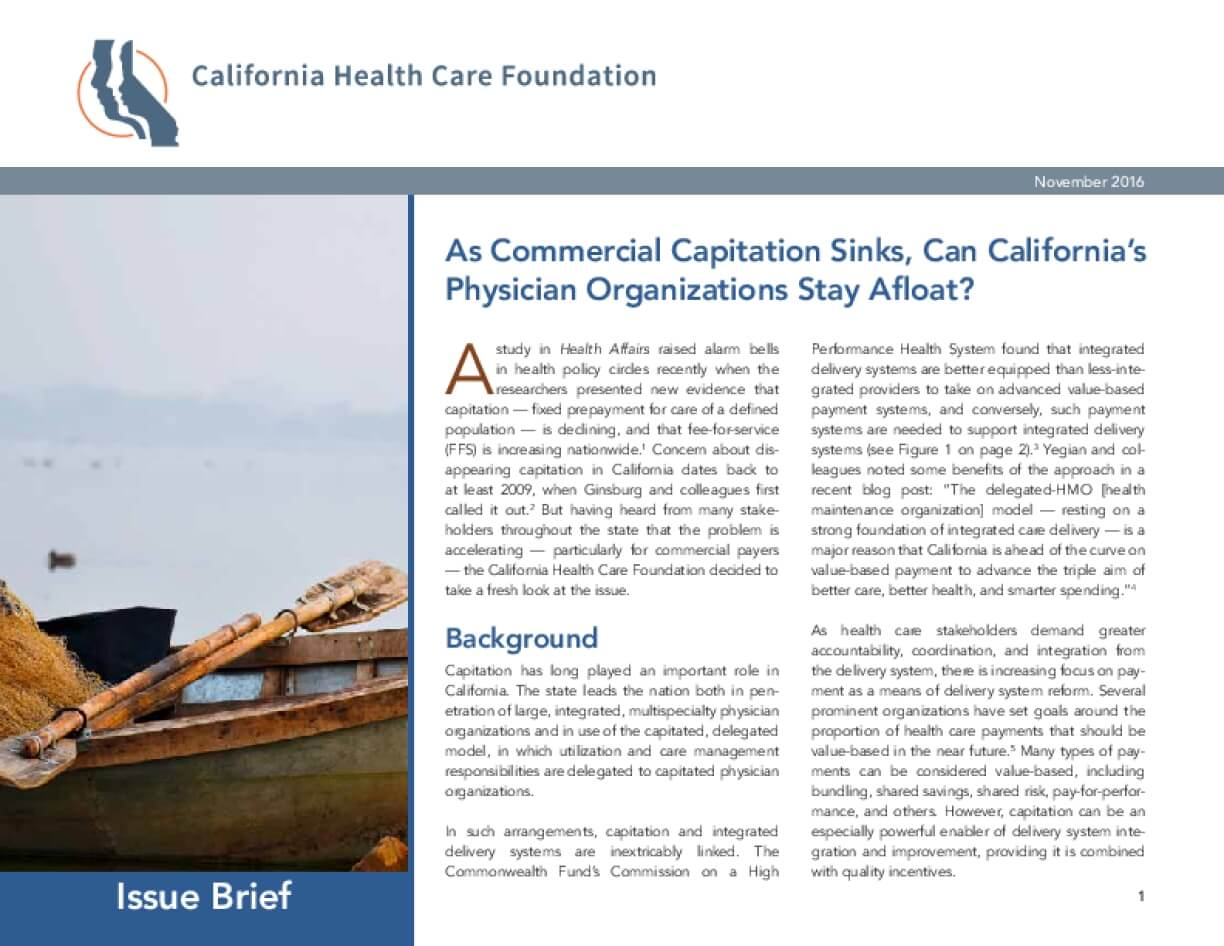 As Commercial Capitation Sinks, Can California's Physician Organizations Stay Afloat?
