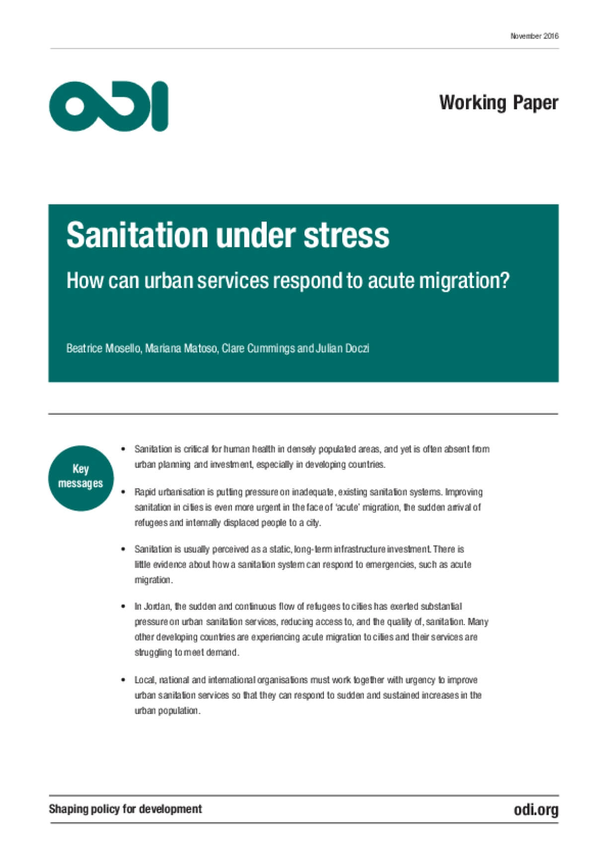 Sanitation under Stress: How Can Urban Services Respond to Acute Migration?