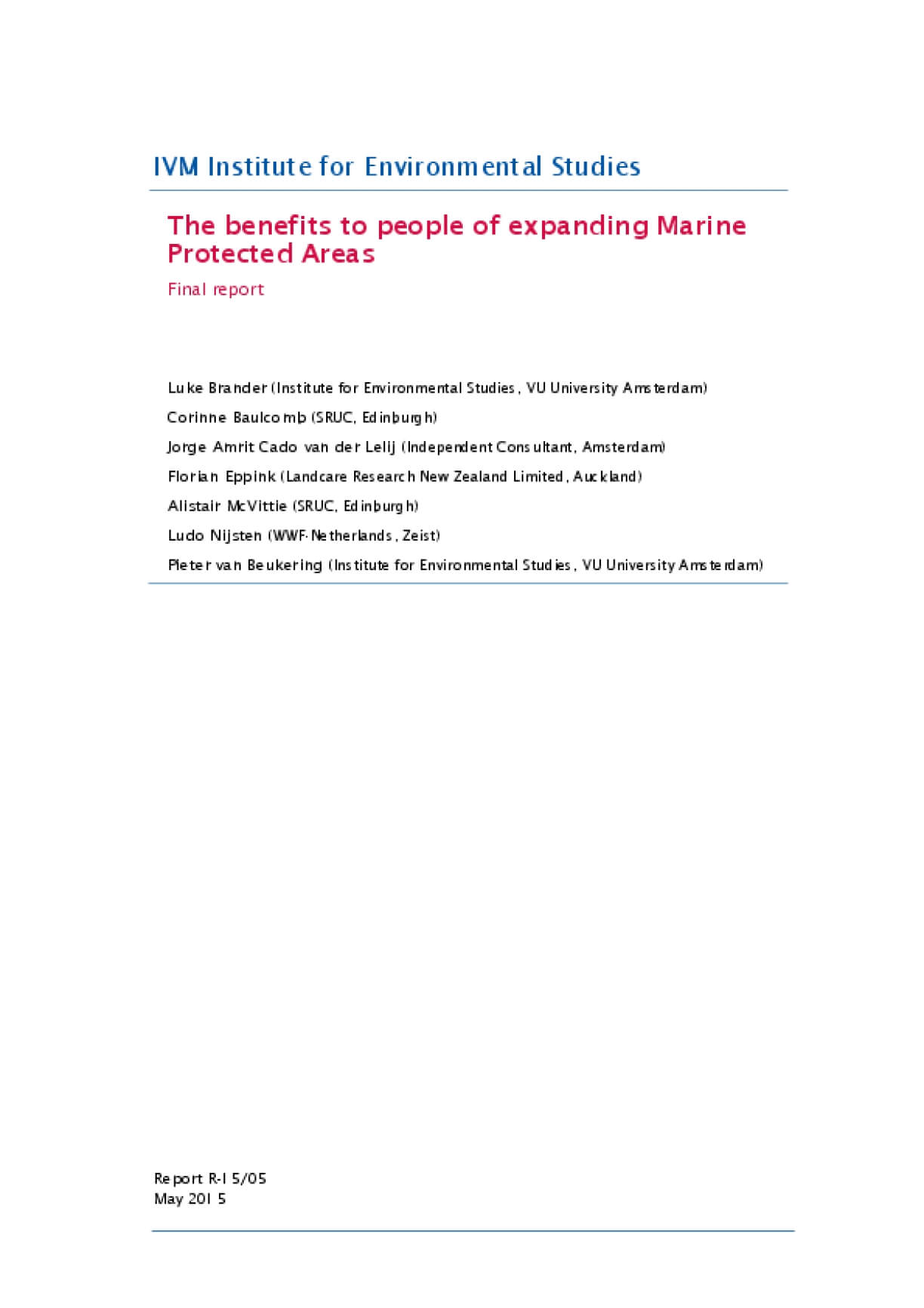 The Benefits to People of Expanding Marine Protected Areas