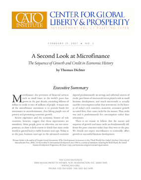 A Second Look at Microfinance: The Sequence of Growth and Credit in Economic History Second Look at Microfinance: The Sequence of Growth and Credit in Economic History
