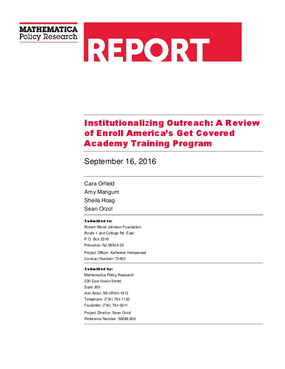 Institutionalizing Outreach: A Review of Enroll America's Get Covered Academy Training Program