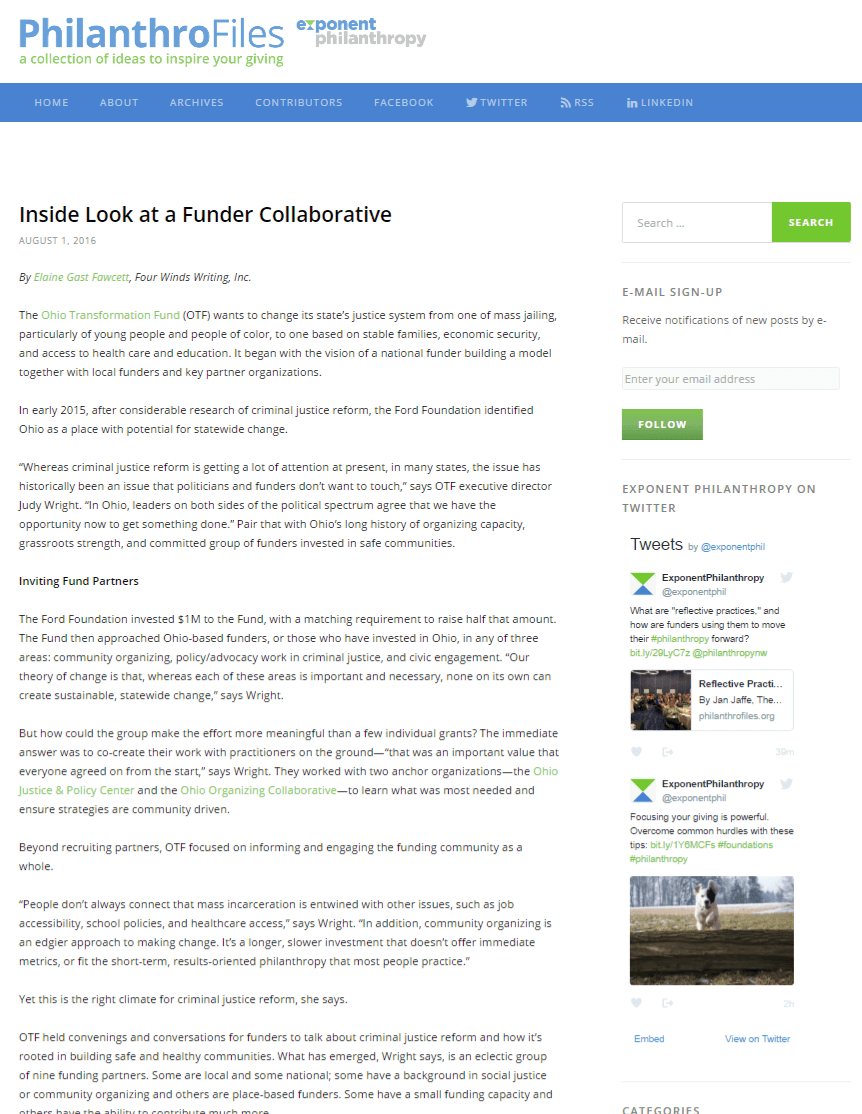 Inside Look at a Funder Collaborative