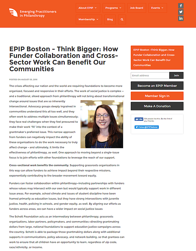 EPIP Boston - Think Bigger: How Funder Collaboration and Cross-Sector Work Can Benefit Our Communities
