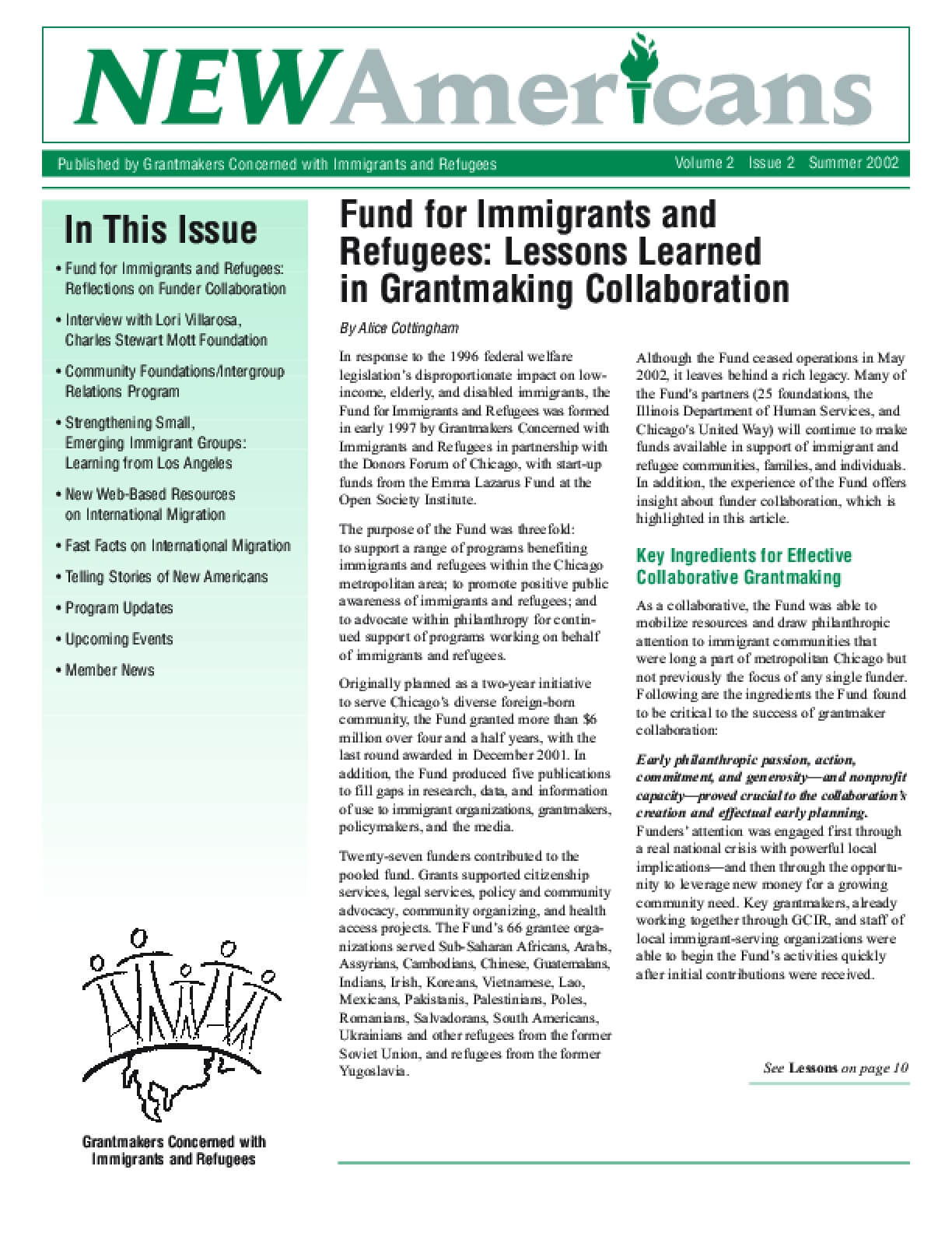 Fund for Immigrants and Refugees: Lessons Learned in Grantmaking Collaboration
