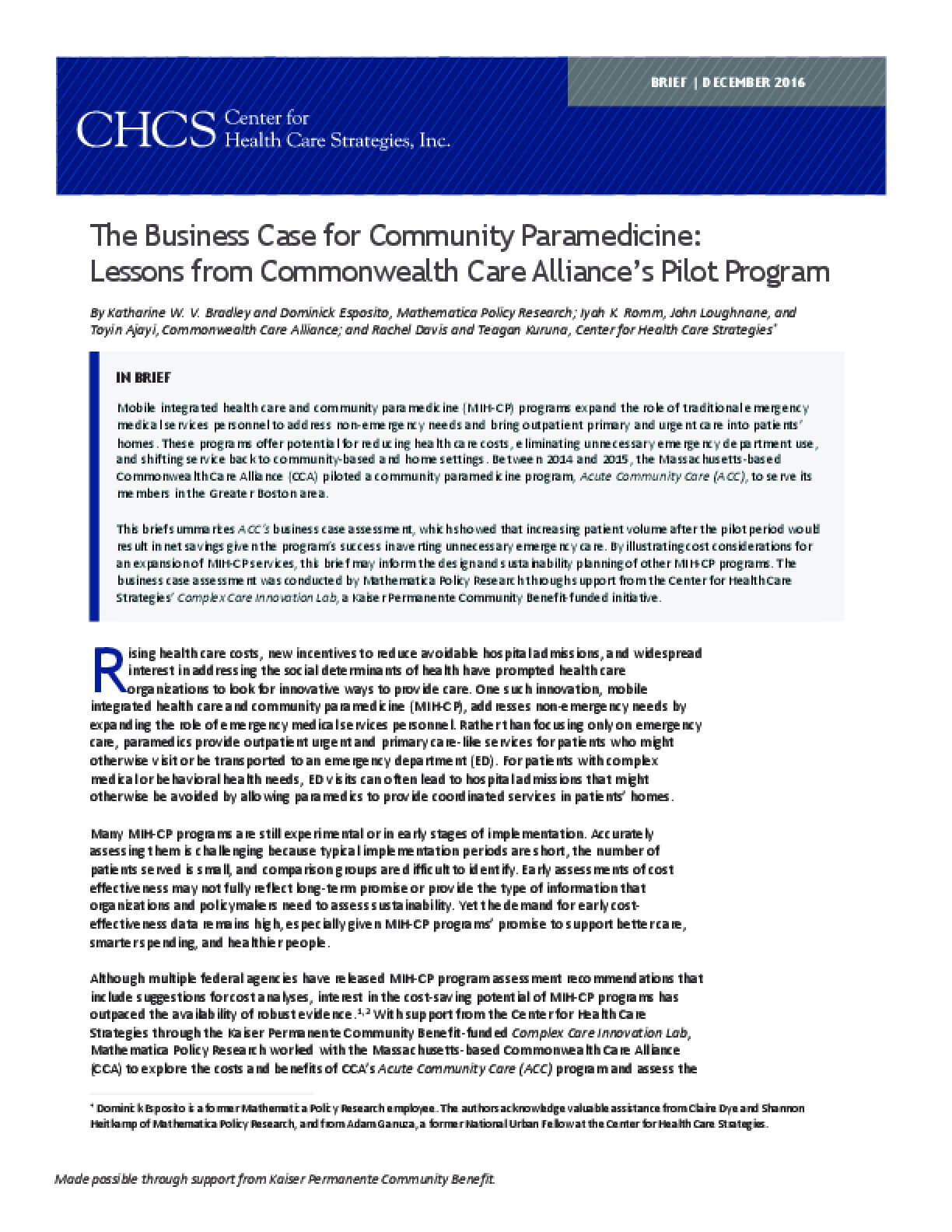 The Business Case for Community Paramedicine: Lessons from Commonwealth Care Alliance's Pilot Program