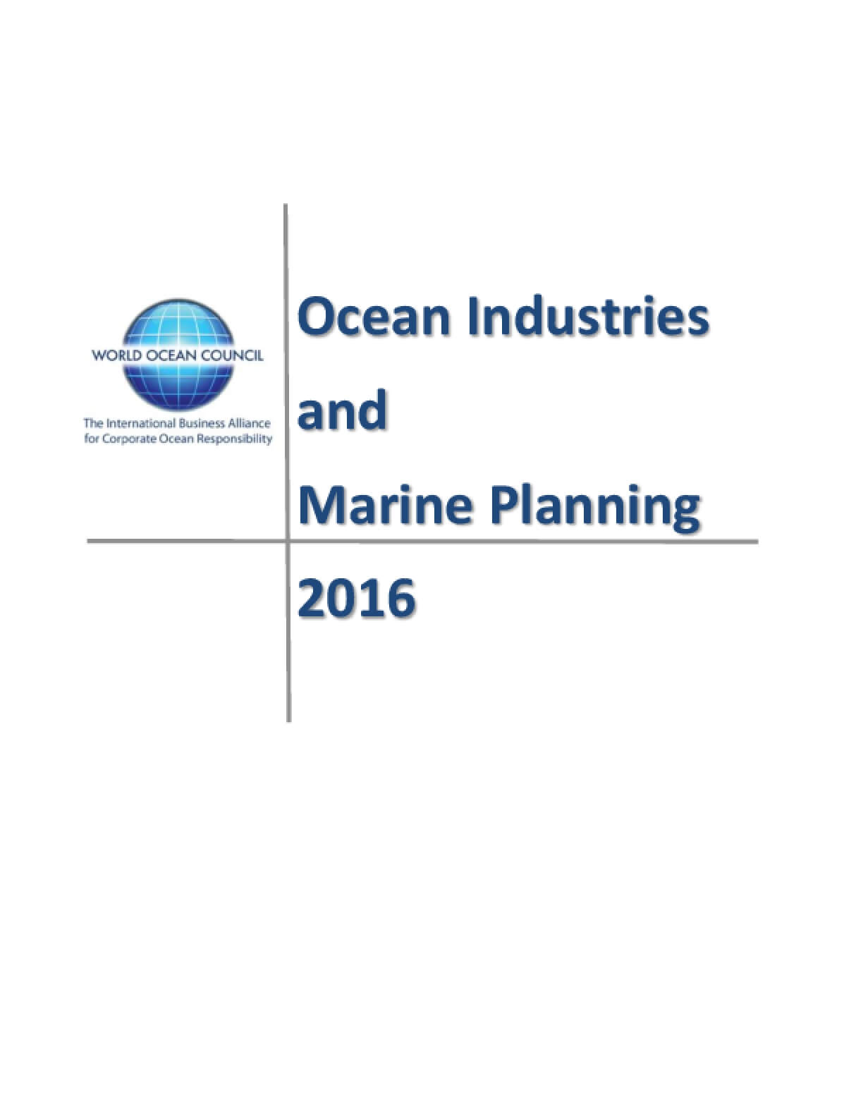 Ocean Industries and Marine Planning