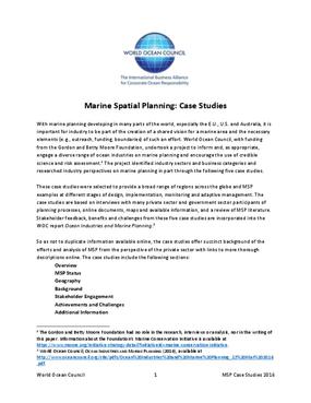 Marine Spatial Planning: Case Studies