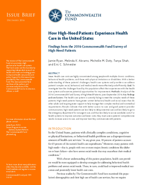 How High-Need Patients Experience Health Care in the United States: Findings from the 2016 Commonwealth Fund Survey of High-Need Patients