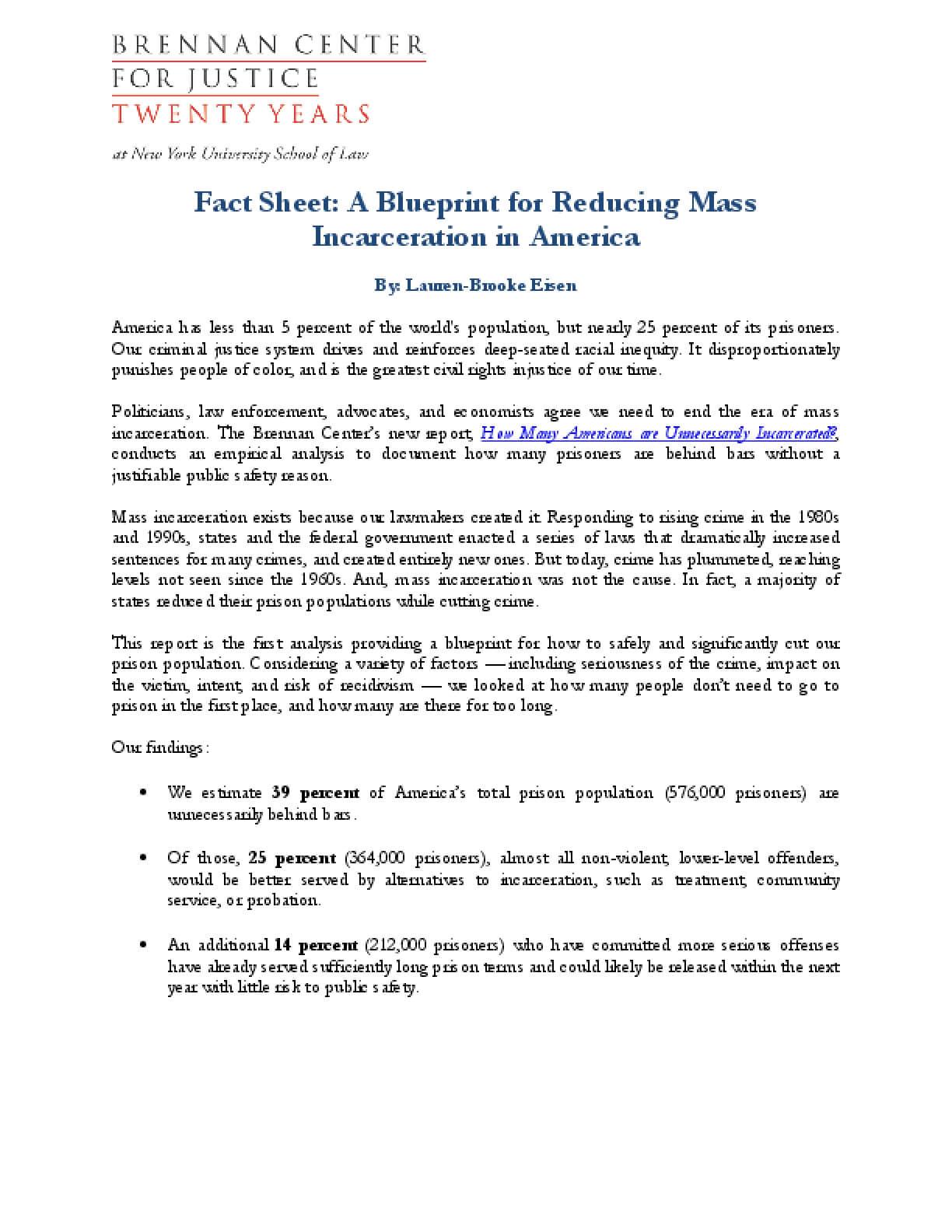 Fact sheet a blueprint for reducing mass incarceration in america fact sheet a blueprint for reducing mass incarceration in america malvernweather Gallery