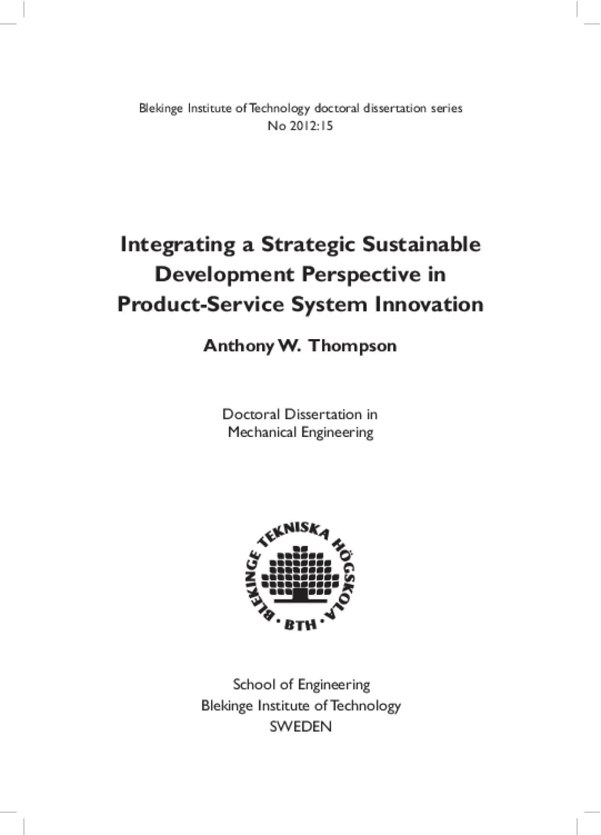 Integrating a Strategic Sustainable Development Perspective in Product-Service System Innovation