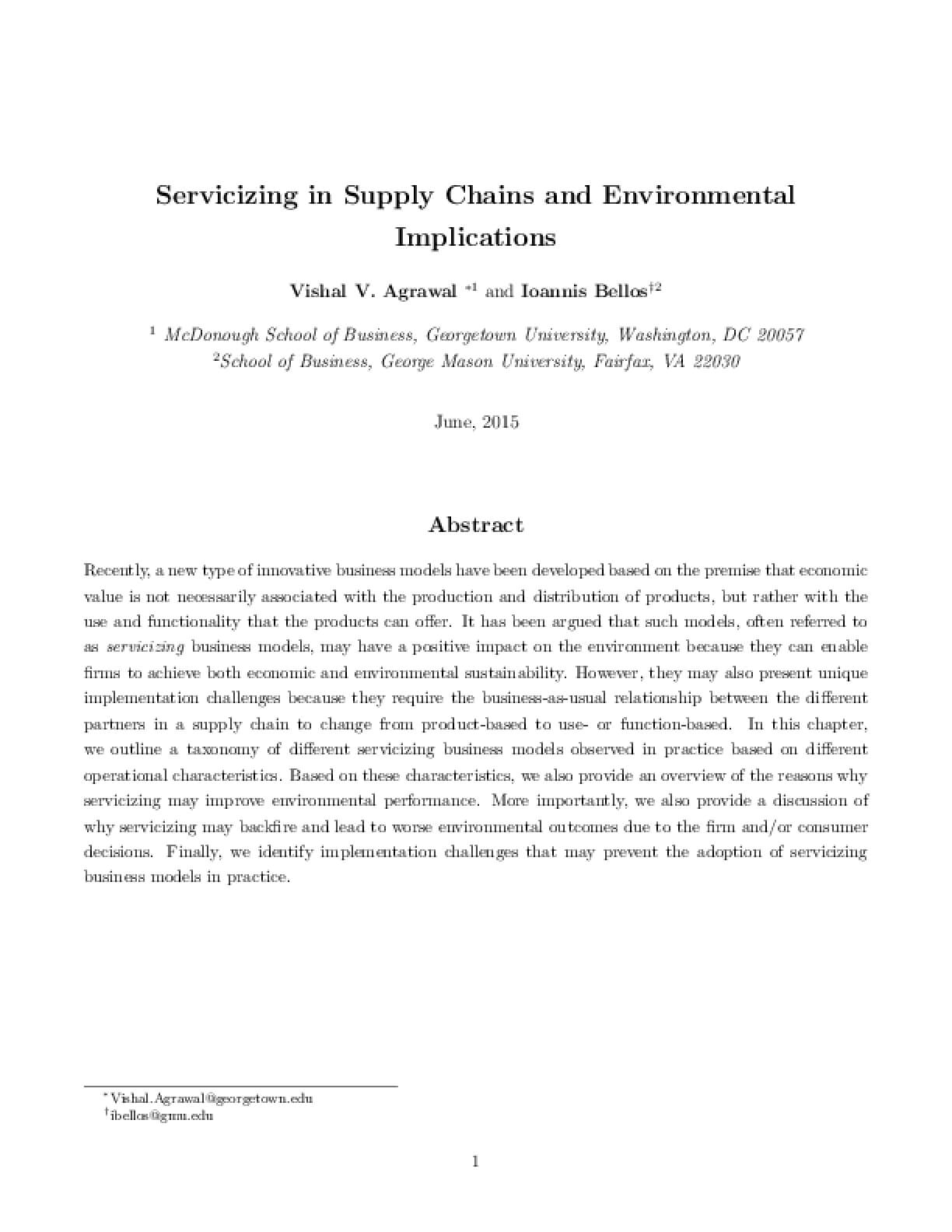 Servicizing in Supply Chains and Environmental Implications