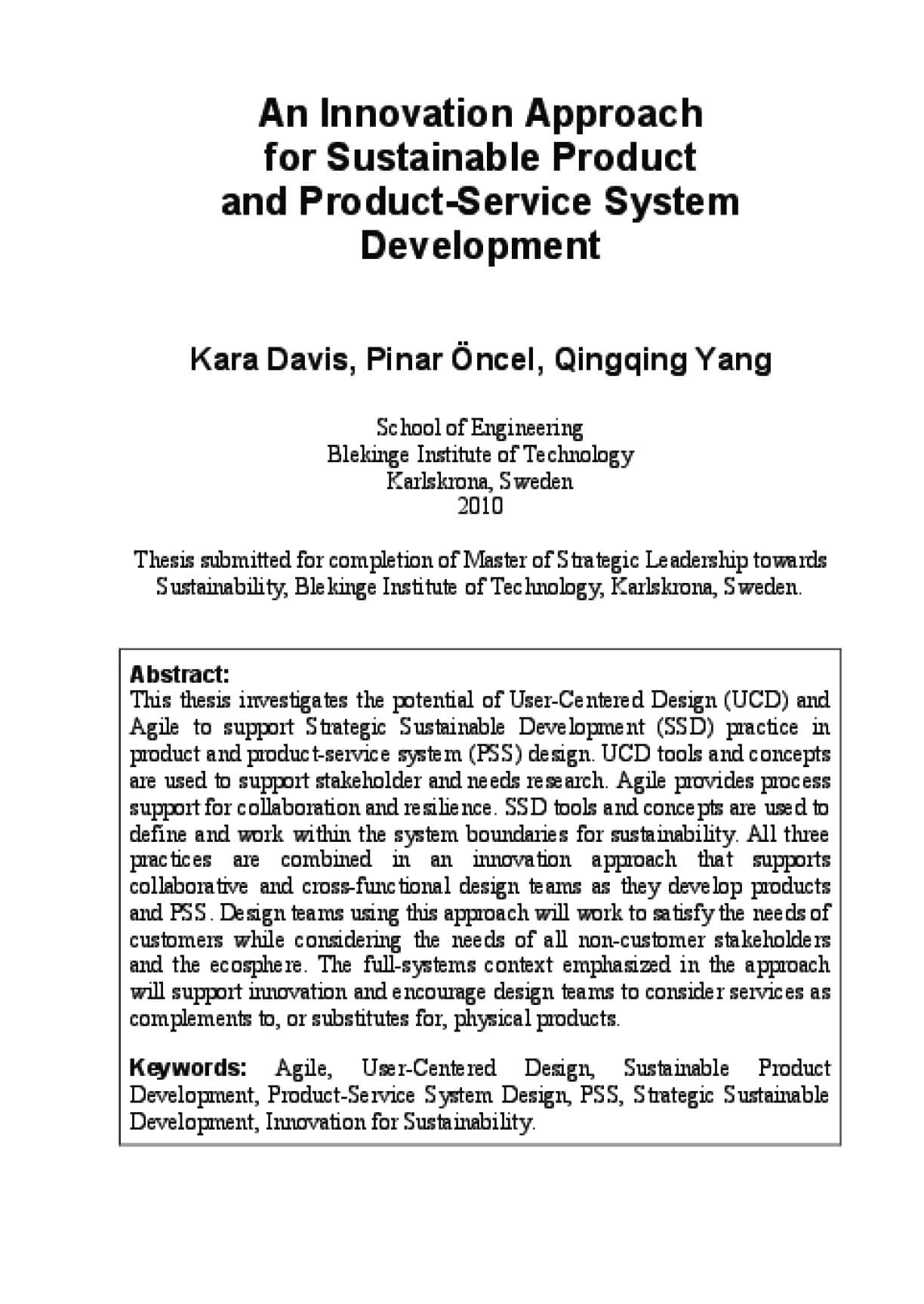 An Innovation Approach for Sustainable Product and Product-Service System Development
