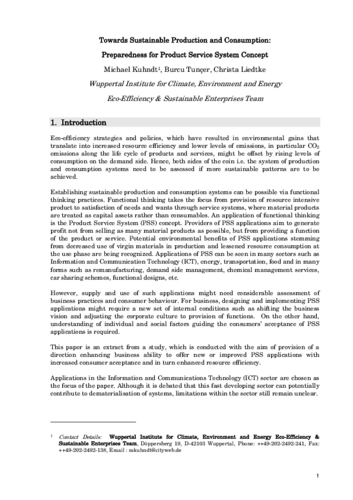 Towards Sustainable Production and Consumption: Preparedness for Product Service System Concept