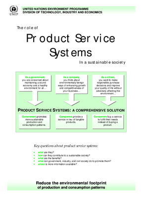 The Role of Product Service Systems In a Sustainable Society