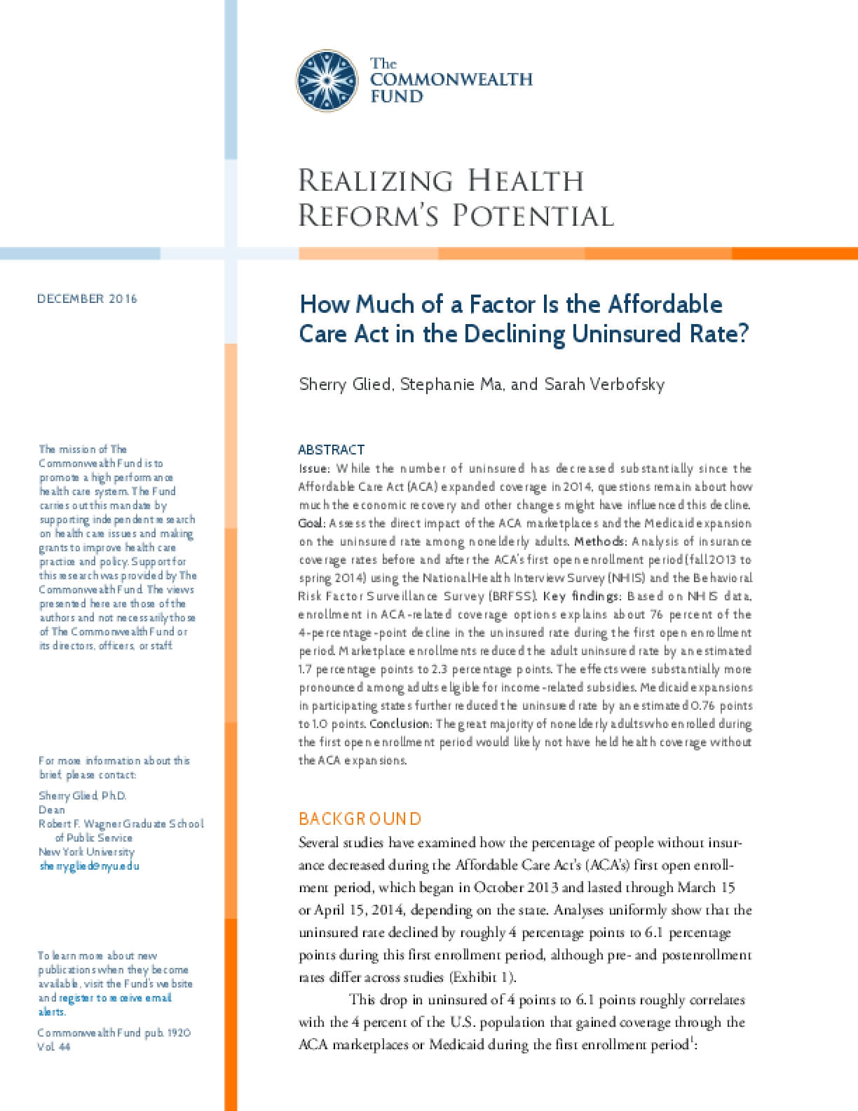 How Much of a Factor Is the Affordable Care Act in the Declining Uninsured Rate?