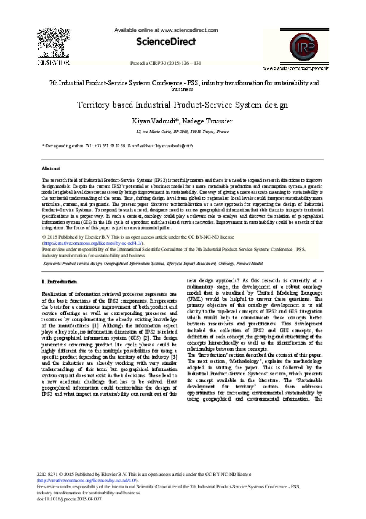 Territory Based Industrial Product-Service System Design