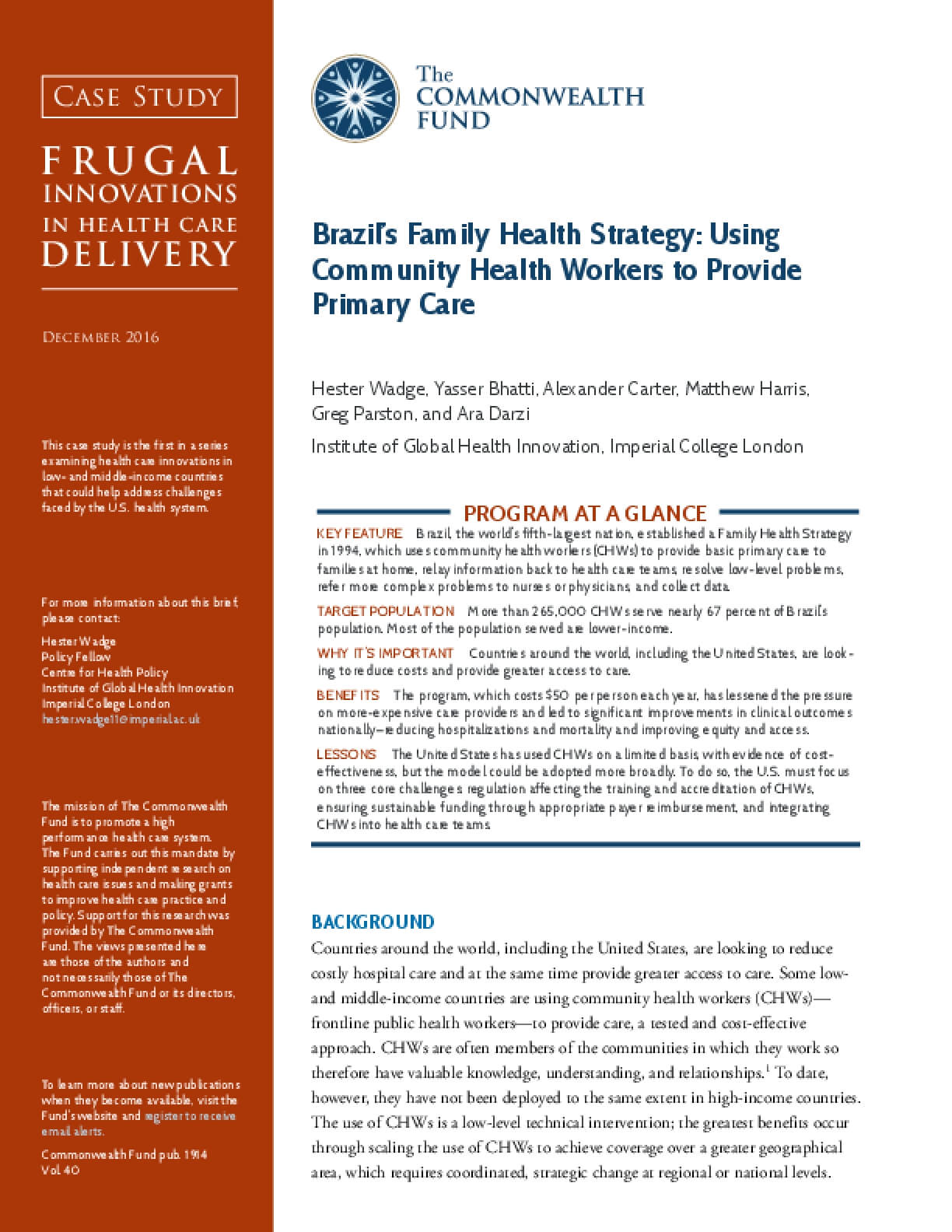 Brazil's Family Health Strategy: Using Community Health Care Workers to Provide Primary Care