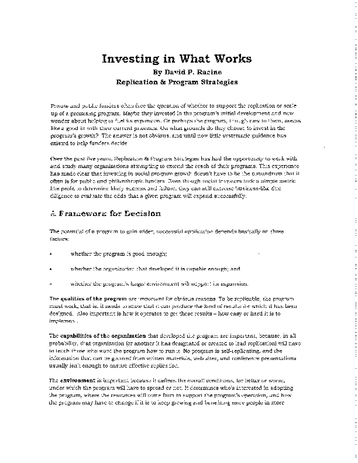 Investing in What Works