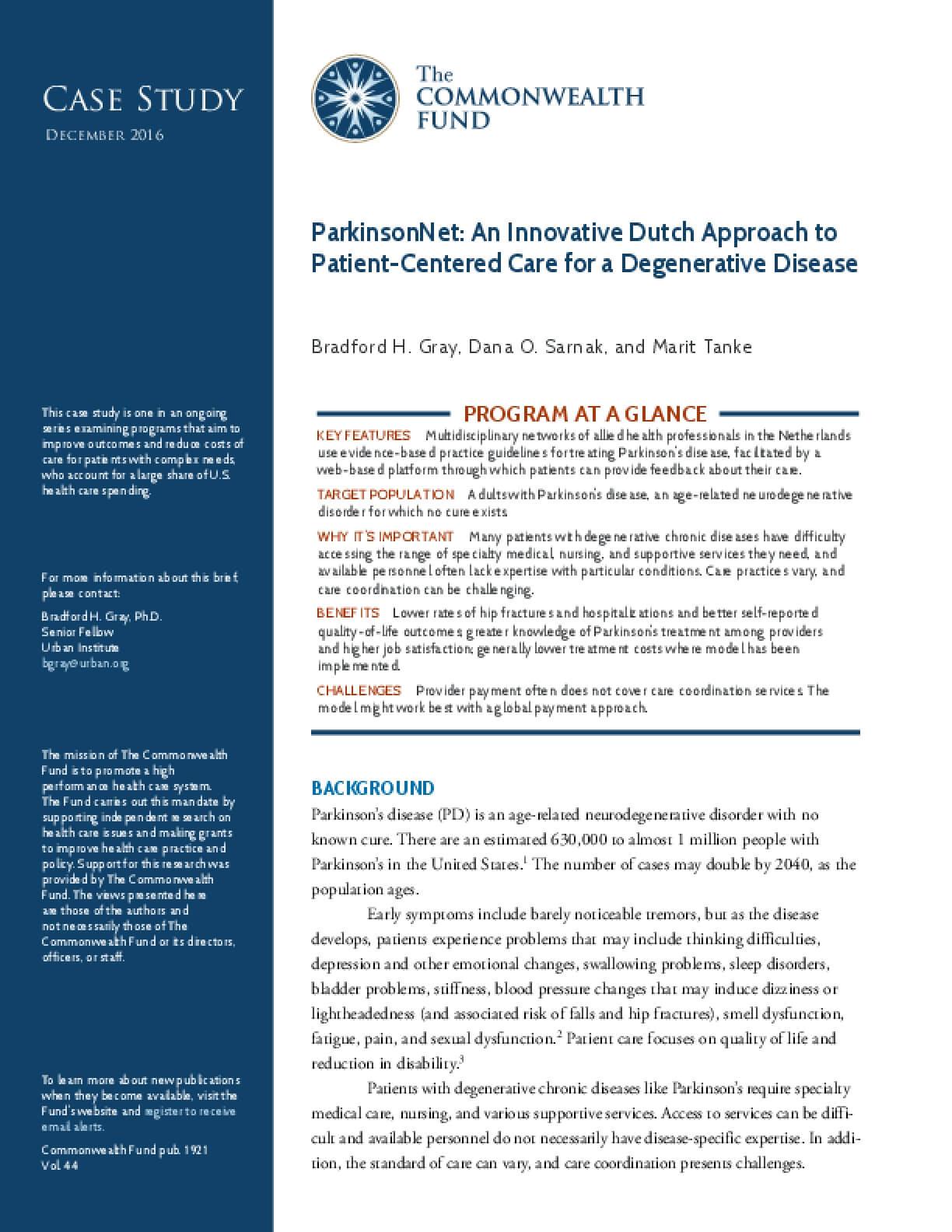 ParkinsonNet: An Innovative Dutch Approach to Patient-Centered Care for a Degenerative Disease