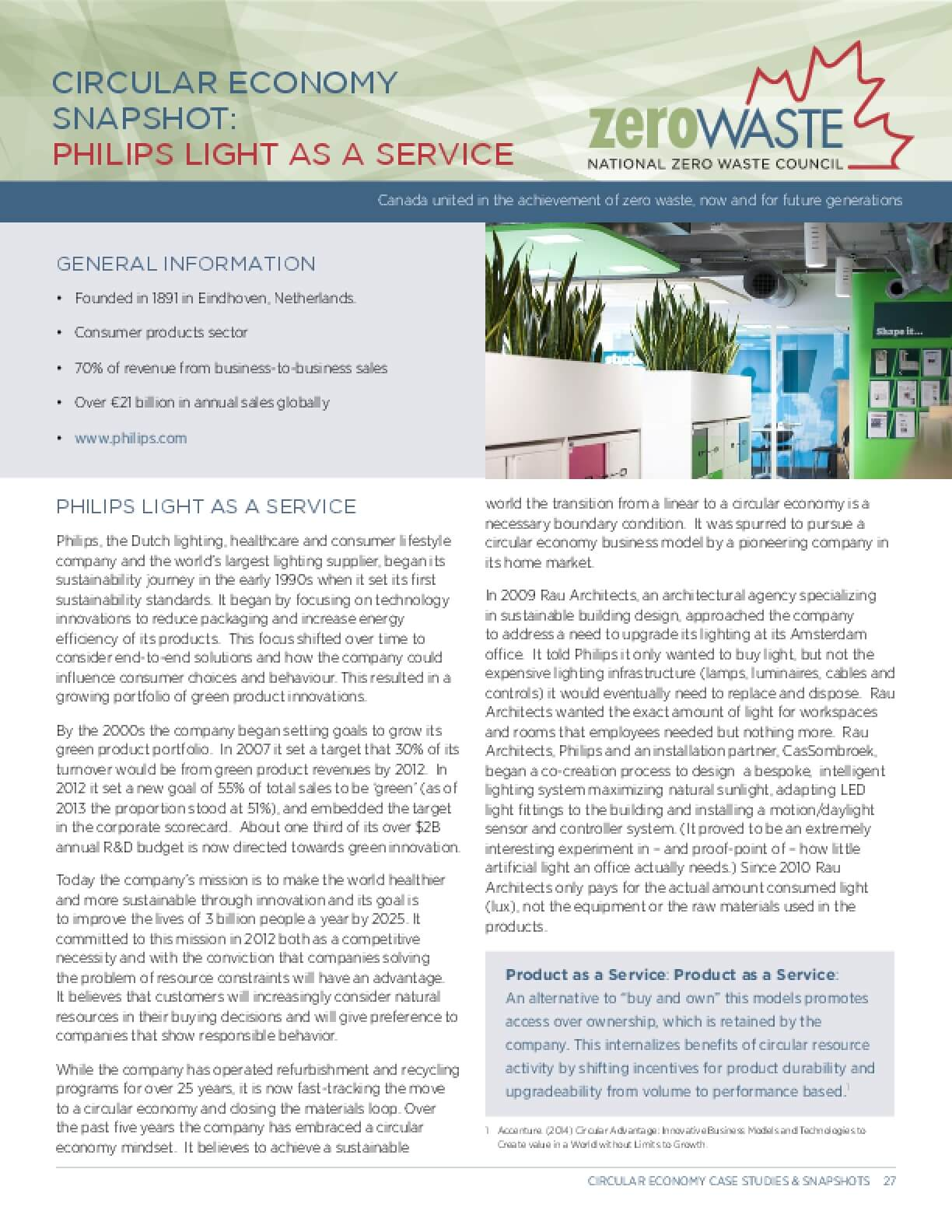 Circular Economy Snapshot: Philips Light as a Service
