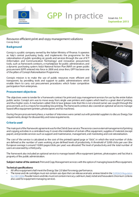 Resource Efficient Print and Copy Management Solutions, Consip (Italy)