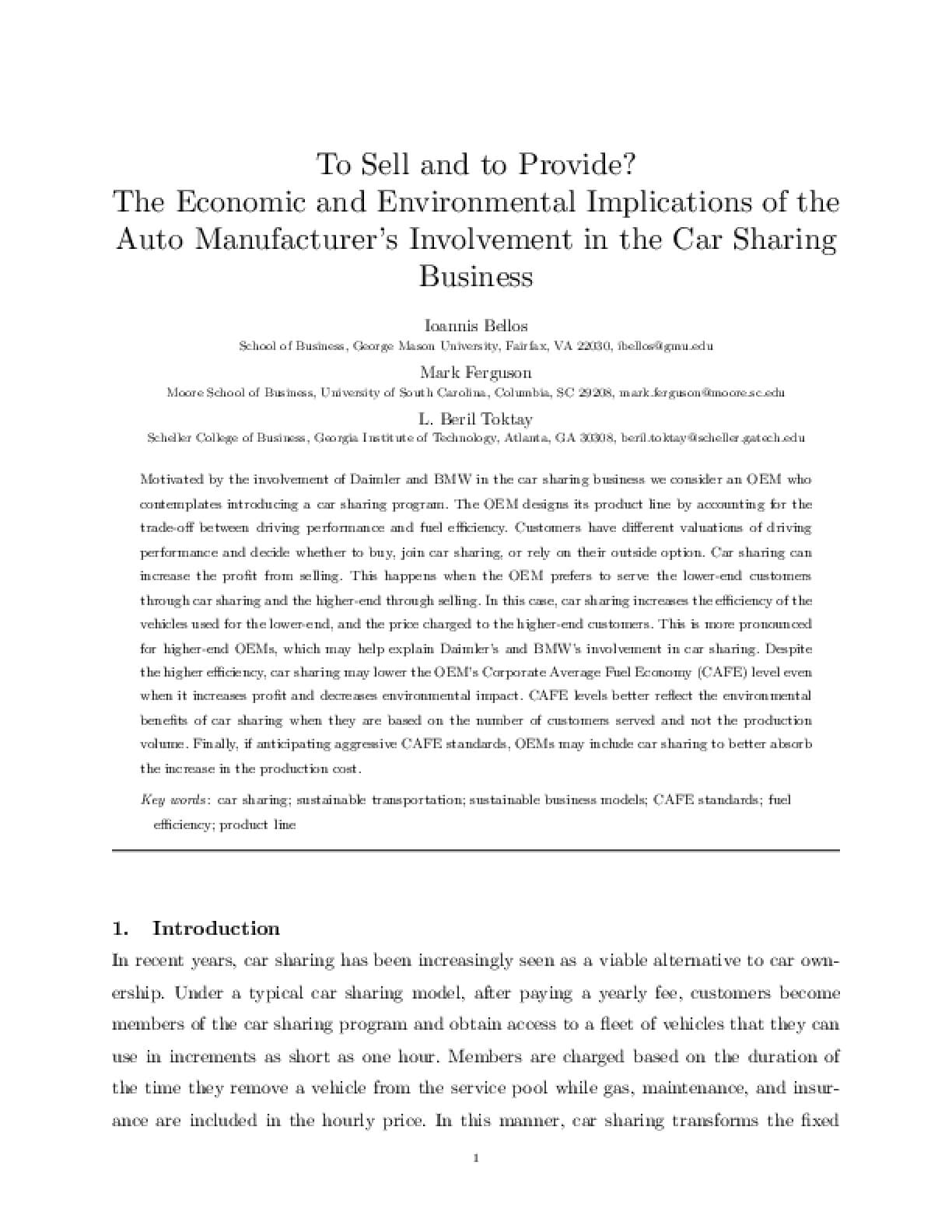 To Sell and to Provide? The Economic and Environmental Implications of the Auto Manufacturer's Involvement in the Car Sharing Business