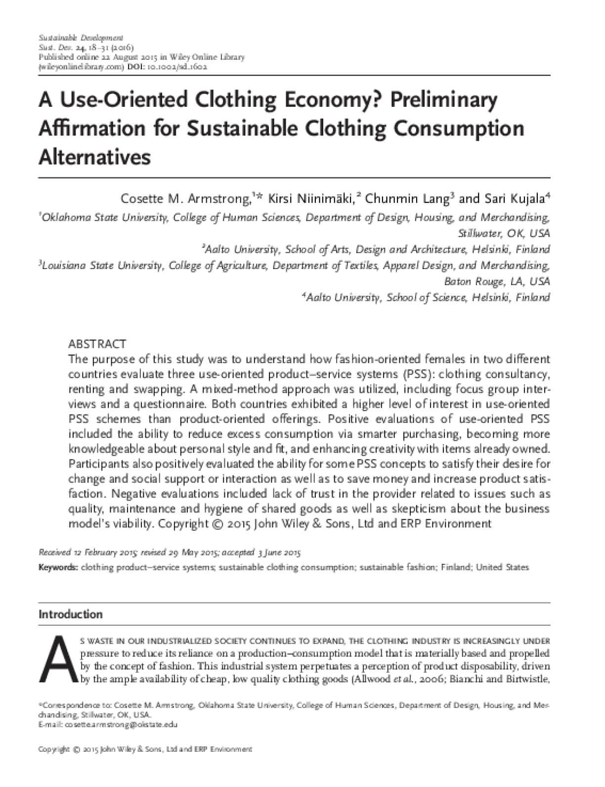 A Use-Oriented Clothing Economy? Preliminary Affirmation for Sustainable Clothing Consumption Alternatives