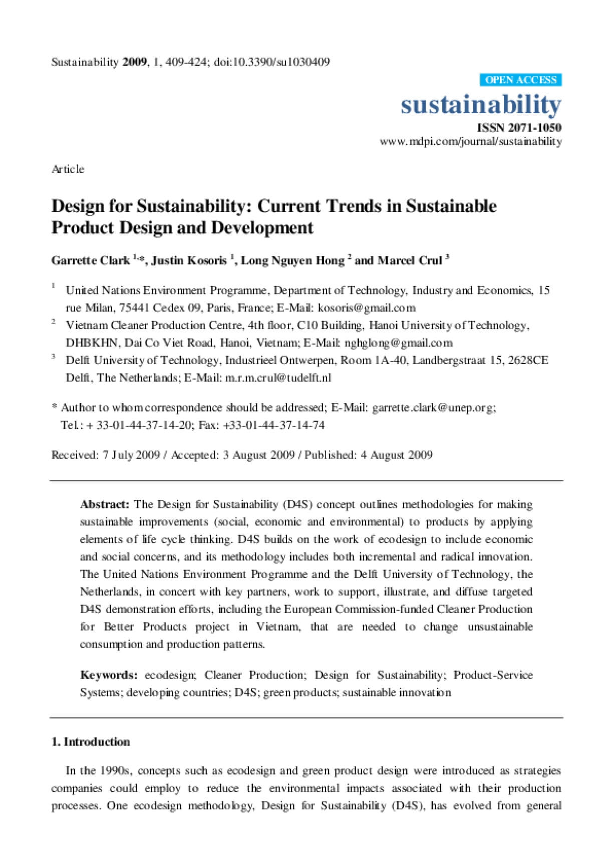 Design for Sustainability: Current Trends in Sustainable Product Design and Development