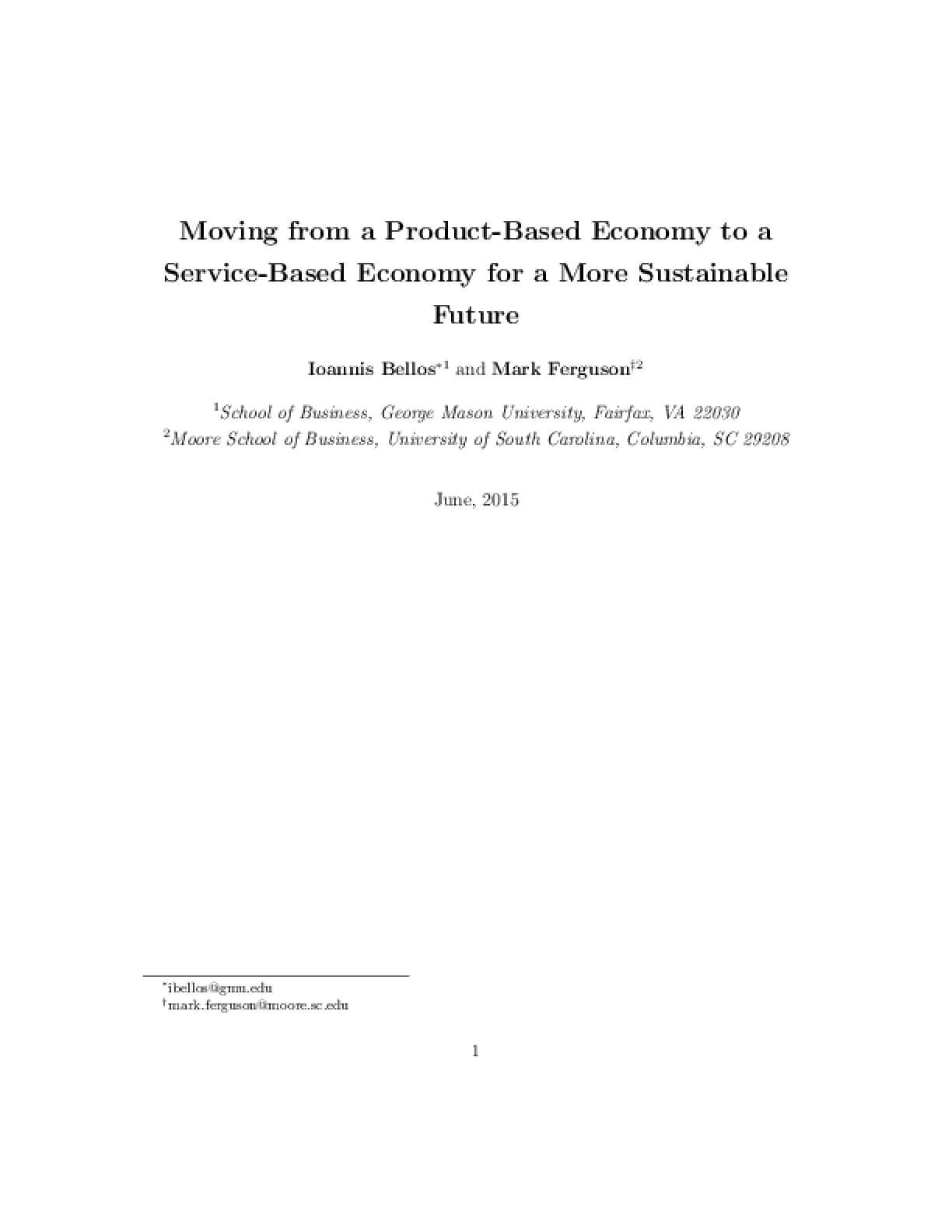 Moving from a Product-Based Economy to a Service-Based Economy for a More Sustainable Future