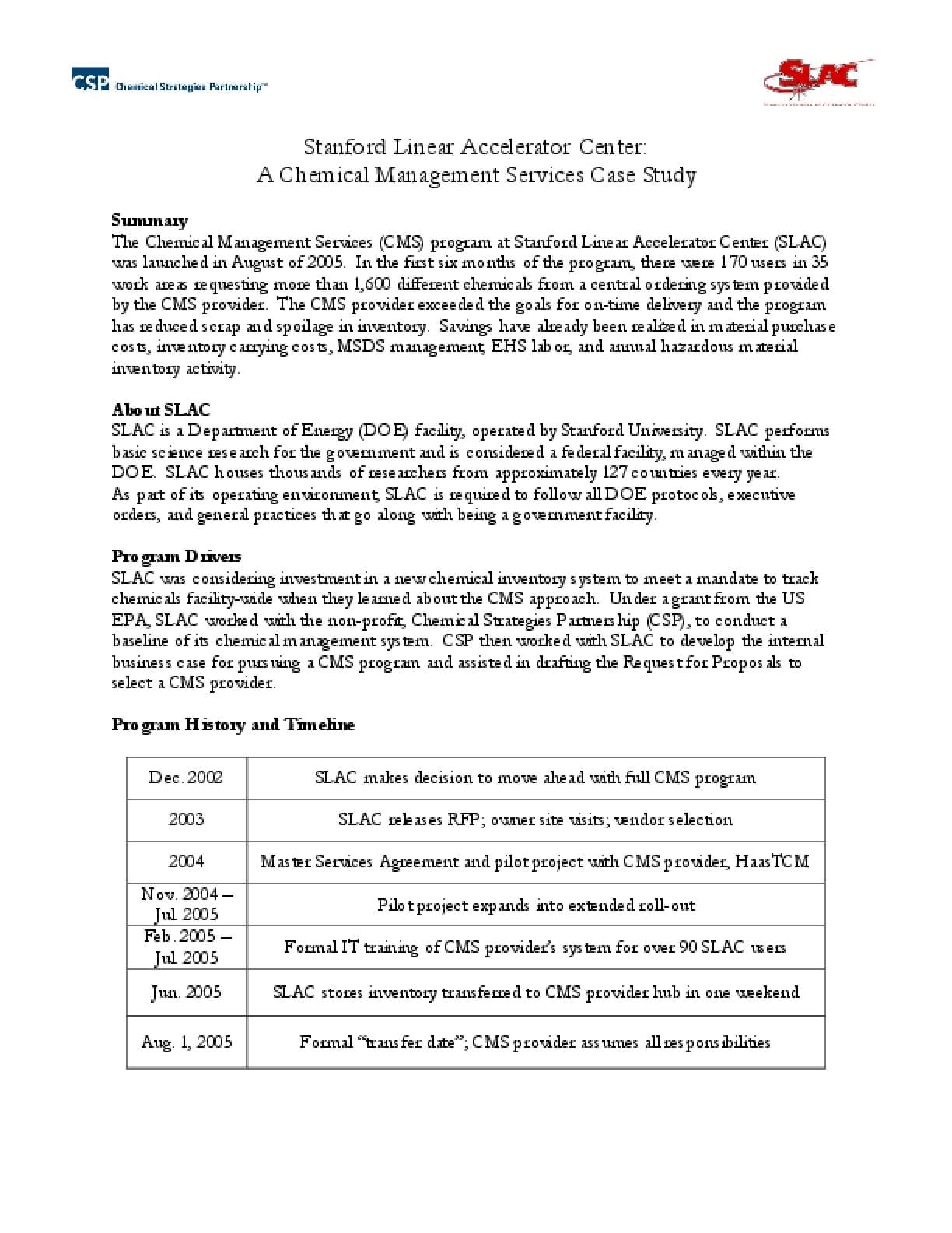 Stanford Linear Accelerator Center: A Chemical Management Services Case Study
