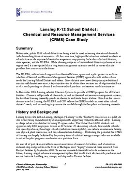 Lansing K-12 School District: Chemical and Resource Management Services (CRMS) Case Study