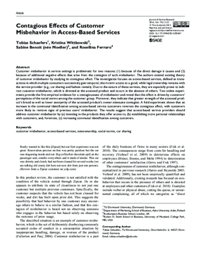 Contagious Effects of Customer Misbehavior in Access-Based Services