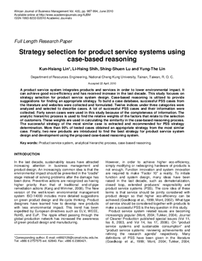 Strategy Selection for Product Service Systems Using Case-based Reasoning