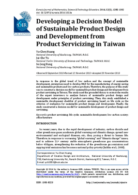 Developing a Decision Model of Sustainable Product Design and Development from Product Servicizing in Taiwan
