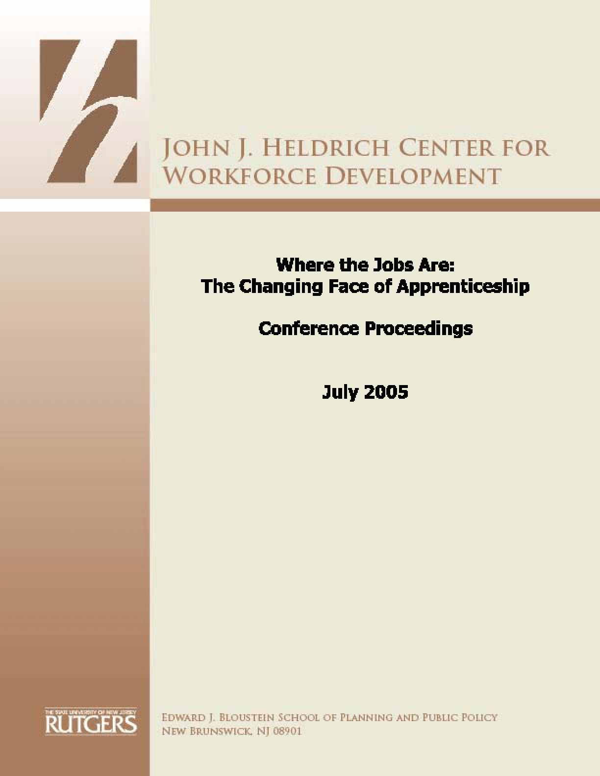 Where the Jobs Are: The Changing Face of Apprenticeship/Proceedings